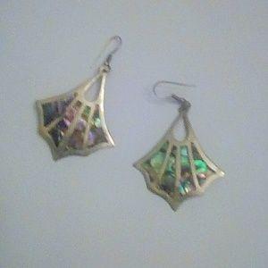 Alpaca Silver Abalone earrings, dangle drop